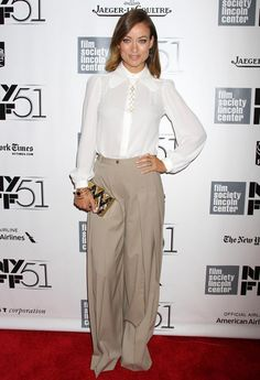 """Olivia Wilde -- Olivia Wilde: Wearing a '70s-inspired Michael Kors blouse and overbearing palazzo pants at the New York Film Festival premiere of """"Her"""" (10/12/13) Credit: Dara Kushner/INFphoto.com"""
