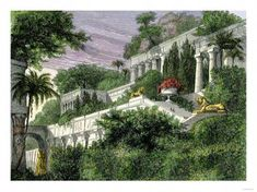 Babylon's Hanging Gardens, One of the Seven Wonders of the Ancient World Giclee … - Modern Pergola Canopy, Diy Pergola, Pergola Kits, Wooden Pergola, Pergola Ideas, Small Pergola, Futuristic Architecture, Landscape Architecture, Landscape Design