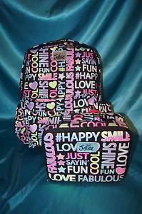 NWT Justice Girls School Backpack Lunch Box Set Glitter Multi Typography | eBay