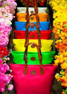 Multicolored  Handbags Amongst Beautiful Flowers.     Tumblr.