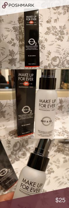 Makeup forever Mist & Fix setting spray Makeup forever Mist & Fix setting spray 4.22oz/125mL Full bottle. *NEW* Untouched, never used. Only took it out of packaging to be photographed.  Recommended for dry skin. Makeup Forever Makeup Foundation