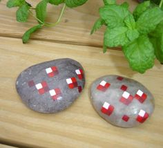 Minecraft stone paintings ruby rubies in matrix paperweight decoration pixel gems retro via Etsy
