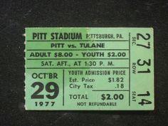 #vintage october 29 1977 tulane at pitt football ticket stub vg (creased/stain) from $4.95