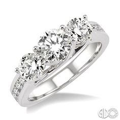 2 Ctw Diamond Engagement Ring with 3/4 Ct Round Cut Center Stone in 14K White Gold #SayYes #IDo #SoPretty