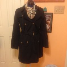 NWOT fully lined trench Fully lined black trench coat. New without tags. Jackets & Coats