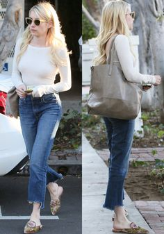 Emma kept her look casual in a long-sleeved top and jeans as she left 901 Salon in Los Angeles