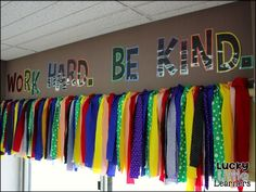 Jazz up your classroom windows with this adorable ribbon curtain. More from my siteClassroom Reveal!Sparkling in Self Contained : Classroom Reveal!Kindergarten Classroom Setup and Reveal Classroom Decor Themes, School Decorations, Classroom Design, Classroom Organization, Classroom Ideas, Classroom Rules, Kindergarten Classroom Setup, Biology Classroom, Classroom Layout