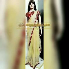 SDS-DS5 FABRICS: soft net and velvet. Customized dis super combination cream and tamato red saree with simple boat neck gold zari work velvet blouse for a dear customer. To place an order plz inbox us or mail us at siridesignerstudio@gmail.com Thank you.