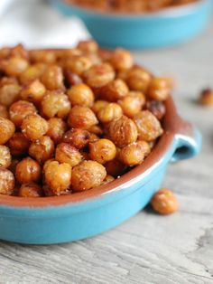 Crunchy Roasted Chickpeas are a great snack for the whole family and can be made sweet or spicy or even plain with a drizzle of olive oil.  They are vegetarian, vegan, gluten free and offer you fiber and protein.// A Cedar Spoon