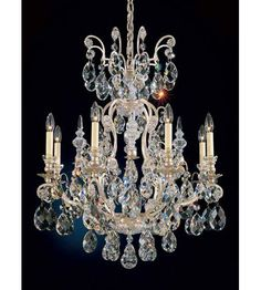 Schonbek Renaissance 9 Light Chandelier in Antique Silver and Clear Heritage Handcut Trim 3771-48 photo