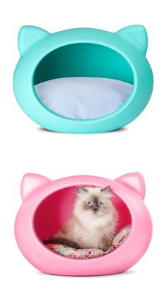 Kitty pod.....These are so cute I would love the pink one for my cat!