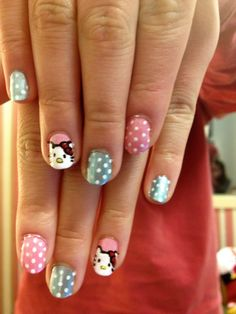 Hello Kitty nails for my friend Kitty. no really, her name is Kitty.