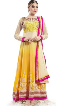 #StitchedSuits - Yellow Embroidered Semi Stitched Floor Length Anarkali Suit Costs Rs. 2,699. #Apparels. BUY it here: http://www.artisangilt.com/apparels-bags/women-apparels/semi-stitched-suits/yellow-embroidered-semi-stitched-floor-length-anarkali-suit-94284.html?ref=pin