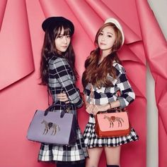 #Jessica and #Krystal Pose with lapalette Bags in #Vogue Korea