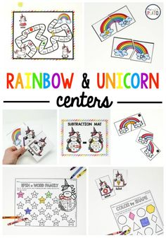 Keep your kindergarten and first- grade kids motivated this winter with these colorful and engaging rainbows and unicorns themed centers! This month's Plato Pack is packed with magical math, literacy and STEM centers- just print and play! Rainbow Activities, Spring Activities, Learning Activities, Indoor Activities, Stem Activities, Educational Activities, Family Activities, Free Kindergarten Worksheets, Kindergarten Centers