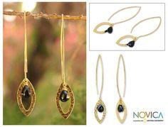 Novica Overlay 'Petal' Onyx Dangle Earrings