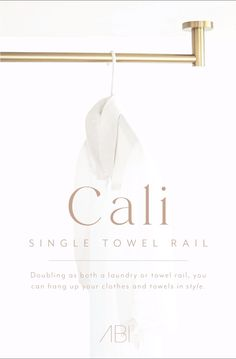 The dual-purpose of the Cali Single Towel Rail expands the realm of convenience in your home. Doubling as both a laundry or towel rail, you can hang up your clothes and towels in style. Constructed from solid brass with a versatile design, it seamlessly integrates into a vast range of bathroom and laundry spaces. Modern Bathroom Design, Bathroom Interior Design, Bathroom Inspo, Bathroom Ideas, Metal Coat Hangers, Feminine Fonts, Build A Frame, Plumbing Installation, Laundry Room Inspiration