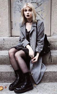 Choker with coat, tartan dress, tights & Dr Martens jadon boots by thelmamalna