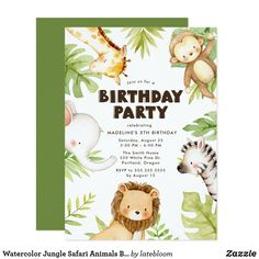 Shop Cute Watercolor Safari Friends Tropical Birthday Invitation created by misstallulah. Colorful Birthday Party, Safari Birthday Party, Animal Birthday, Boy Birthday Parties, 2nd Birthday, Birthday Ideas, Jungle Safari, Jungle Animals, Jungle Party