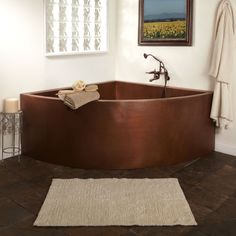 "85"" Crosley Double Wall Corner Hammered Copper Soaking Tub with Seats"