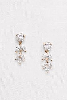 Solitaire and Marquise-Cut Cubic Zirconia Earrings | David's Bridal