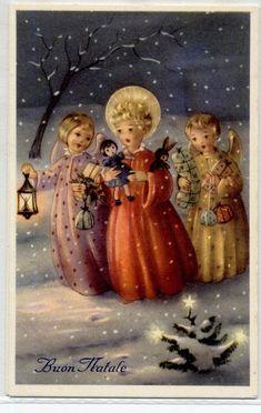 Serie Completa di 6 cartoline Bambini Angeli Giocattoli Natale PC Circa 1940