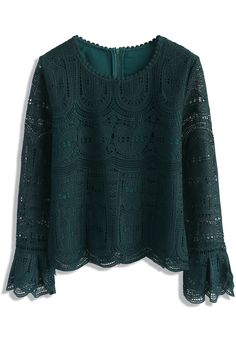 Echo of Exquisiteness Crochet Top in Green - New Arrivals - Retro, Indie and Unique Fashion