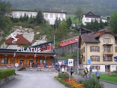 LUCERNE: Entrance to the world's steepest cogway to the top of Mt Pilatus