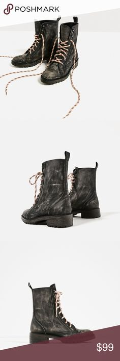 🆕 Zara Distressed Leather Combat Boots S| 6.5. BNWB!  Black flat leather ankle boots. Distressed effect. Contrasting colour cord detail. Rear pull-tab. Due to the artisan distressed effect, the ankle boots may vary slightly from the photo.  Heel height of 1.5″. Zara Shoes