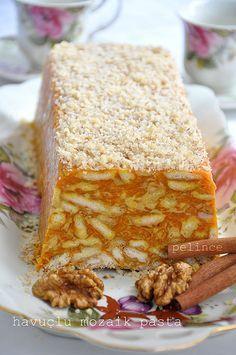 havuçlu mozaik- mosaic cake with carrots - Kuchen Rezepte 2020 Pasta Cake, Cake Recipes, Dessert Recipes, Delicious Desserts, Yummy Food, Turkish Recipes, No Bake Cake, Food To Make, Food And Drink