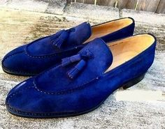 Tassel Loafer Slip Ons Men Blue Tone Genuine Suede Leather Men Handcrafted Shoes sold by Lajuria. Shop more products from Lajuria on Storenvy, the home of independent small businesses all over the world. Blue Suede Loafers, Suede Leather Shoes, Tassel Loafers, Loafers Men, Leather Men, Soft Leather, Leather Jackets, Cowhide Leather, Real Leather