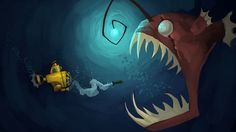 Angler Encounter Picture (2d, illustration, concept art, fish, creature, submarine, scary, cartoon)