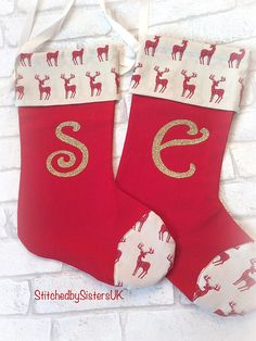 personalised christmas stocking luxury Christmas stocking Christmas Stockings, Sisters, Holidays, Stitch, Trending Outfits, Luxury, Unique Jewelry, Holiday Decor, Handmade Gifts