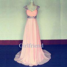Elegant pink chiffon floor-length beaded halter prom dress, graduation dress, evening dress with sequins from Girlfriend