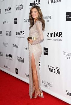 Alessandra Ambrosio wearing Christian Louboutin T-Spiga Pumps Hugo Boss Fall 2013 gown