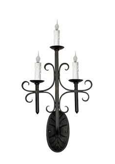 Three light hand forged iron wall sconce by www.haciendalights.com