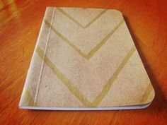 Handpainted Notebook with Gold Chevron Pocket Journal by SlimNote, $6.00