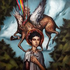 Esao Andrews  Blue Sky Noise    oil on board  36 x 36 inches  (91.44 x 91.44 cm)