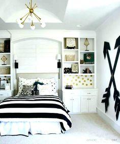 Gold Teen Bedroom, Bedroom Ideas For Teen Girls, Black White And Gold Bedroom, Teenage Girl Bedroom Designs, Girls Room Design, Teen Girl Rooms, Teenage Girl Bedrooms, Small Room Design, Girls Bedroom