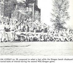 1953 Oregon baseball. Jim Livesay prepares to step to the plate. From the 1954 Oregana (University of Oregon yearbook). www.CampusAttic.com