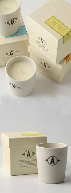 Monogram Candle Packaging,  Anthropologie's in-house design team