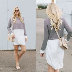 such a cute look - love the flowy white skirt