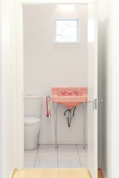 Eclectic Powder Room by RD Architecture // pink-vintage-old-white