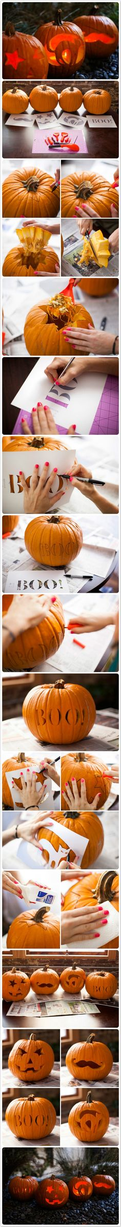 4 Ways to Carve a Pumpkin Click www.faveed.com for more craft ideas! #halloween