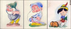 Artist: Adolph Hitler.  Hitler tried to make a living as an artist before his rise to power.  He is also known to have owned a copy of Disney classic Snow White.  A Norwegian museum curator believes these are his renditions of Disney characters, drawings hidden  behind a painting, bought from Germany and dating to the 1940s.