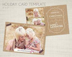 Christmas Card Template for Photographers - 5 x 7 Landscape Flat Card - Oatmeal Spice