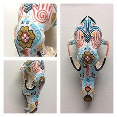 Painted coyote skull by Jennifer Kelly 2017