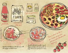 Home made pizza step by step illustrated recipe on They Draw and Cook