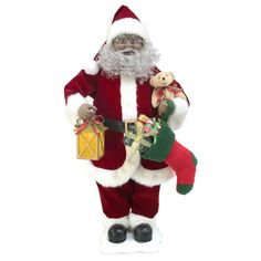 "Holiday Living 28"" African American Animated Musical Santa Claus ~ NIB"