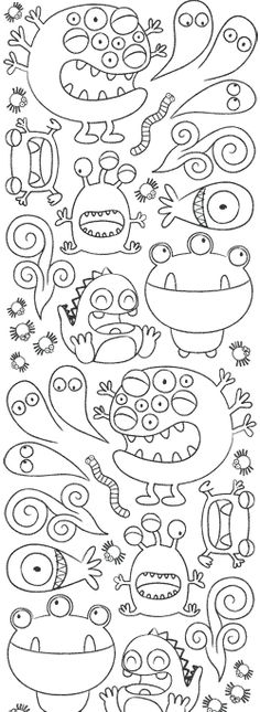 Monsters coloring pages! Art For Kids, Crafts For Kids, Arts And Crafts, Paper Crafts, Colouring Pages, Coloring Books, Doodles, Monster Party, Teaching Art